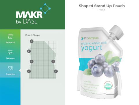 设计套件:ProAmpac的MAKR的屏幕截图,MAKR是用于远程设计柔性包装的在线配置器,这是该公司为客户提供的最新Bridge虚拟产品。 (照片:美国商业资讯)