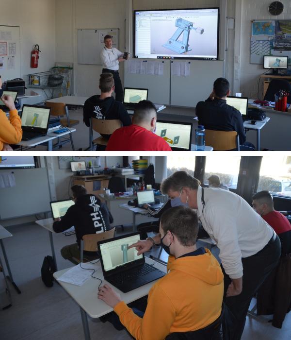 哈丁先生正在使用中望3D进行课程教学